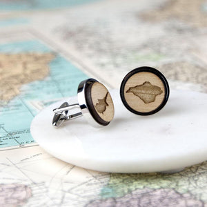 Personalised Map Wooden Cufflinks-OurPersonalisedGifts.com
