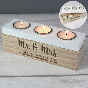 Personalised Married Couple Triple Tea Light Box-OurPersonalisedGifts.com