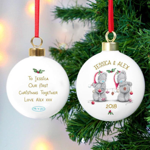 Personalised Me to You Christmas Couple's Bauble-OurPersonalisedGifts.com