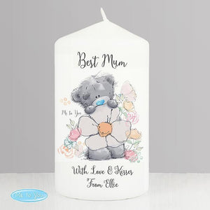 Personalised Me to You Floral Pillar Candle-OurPersonalisedGifts.com