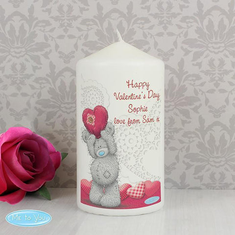 Personalised Me To You Heart Candle-OurPersonalisedGifts.com