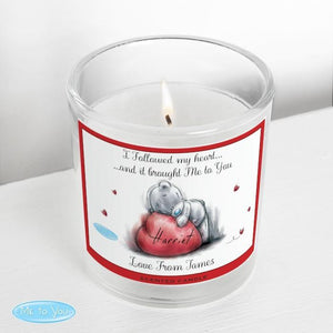 Personalised Me To You Heart Scented Jar Candle-OurPersonalisedGifts.com