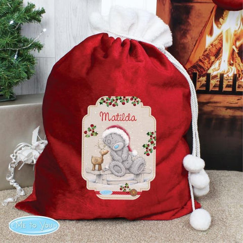 Personalised Me to You Reindeer Luxury Pom Pom Sack-OurPersonalisedGifts.com
