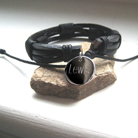 Personalised Men's Bondi Leather Bracelet-OurPersonalisedGifts.com