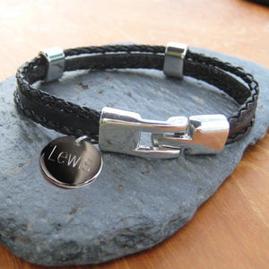 Personalised Men's Leather Clasp Bracelet-OurPersonalisedGifts.com