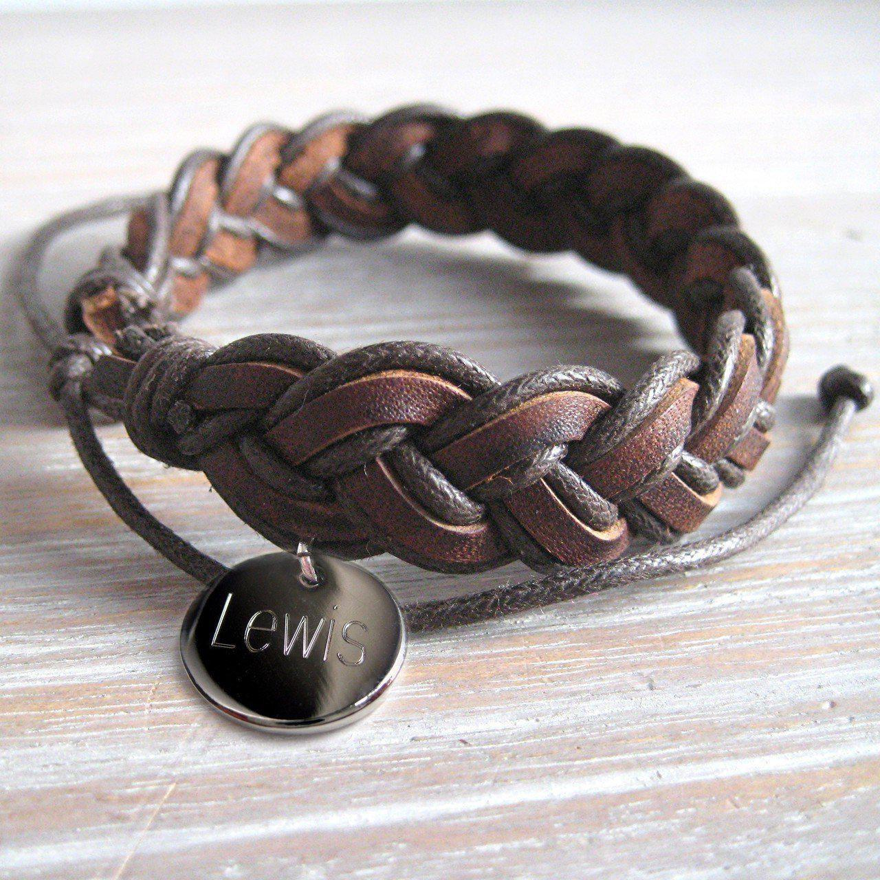 Personalised Men's Pleated Leather Bracelet-OurPersonalisedGifts.com