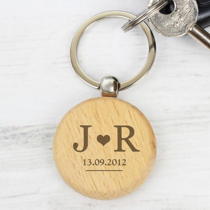 Personalised Monogram Wooden Keyring-OurPersonalisedGifts.com