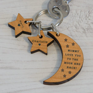 Personalised Moon and Stars Keyring-OurPersonalisedGifts.com