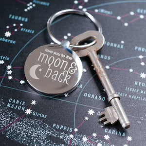 Personalised Moon & Back Keyring-OurPersonalisedGifts.com