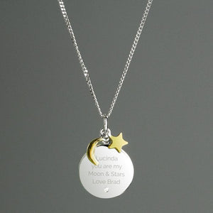 Personalised Moon & Stars Sterling Silver Necklace-OurPersonalisedGifts.com