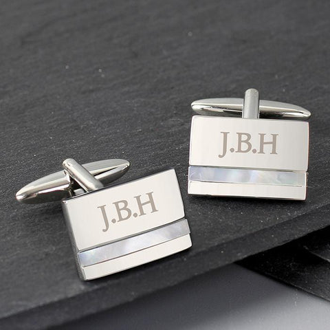 Personalised Mother of Pearl Cufflinks-OurPersonalisedGifts.com