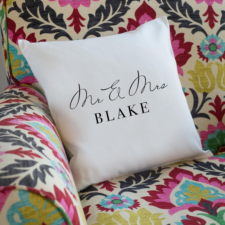 Personalised Just Married Cushion-OurPersonalisedGifts.com
