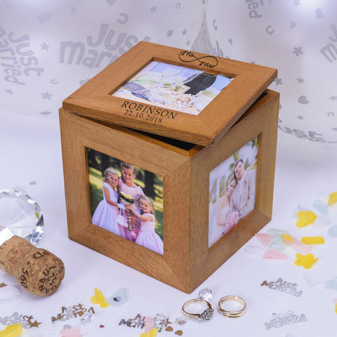 Personalised Mr & Mrs Infinity Oak Photo Cube-OurPersonalisedGifts.com