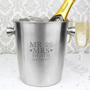 Personalised Mr & Mrs Stainless Steel Ice Bucket-OurPersonalisedGifts.com