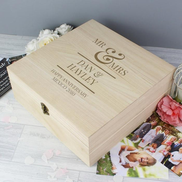 Personalised Mr & Mrs Wooden Keepsake Box-OurPersonalisedGifts.com