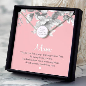 Personalised Mum Sentiment Silver Tone Necklace and Box-OurPersonalisedGifts.com