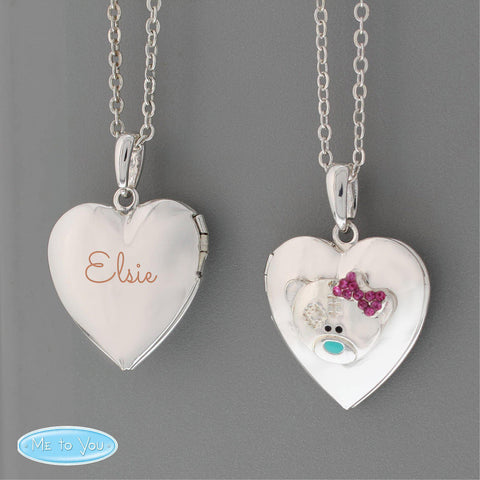Personalised Name Me To You Silver Tone Heart Locket-OurPersonalisedGifts.com