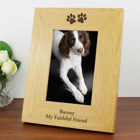 Personalised Oak Finish Paw Prints Photo Frame-OurPersonalisedGifts.com