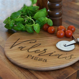 Personalised Oak Name Pizza Board-OurPersonalisedGifts.com