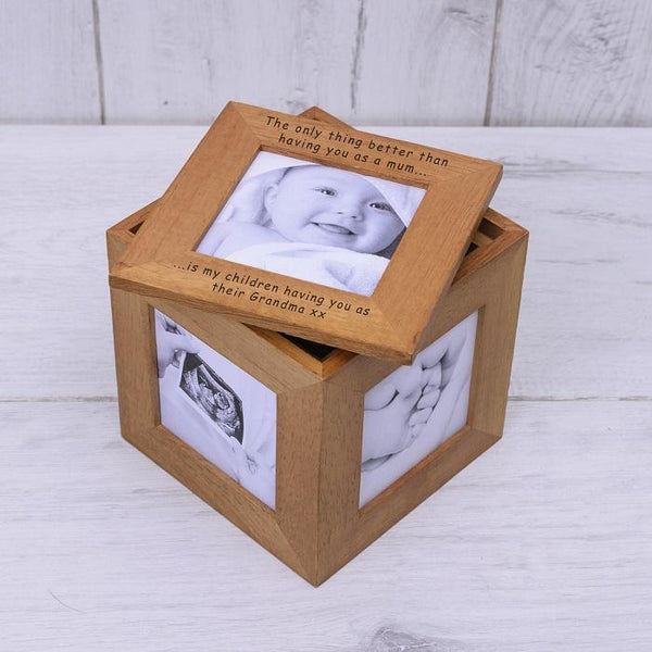 Personalised Oak Photo Cube Keepsake Box-OurPersonalisedGifts.com