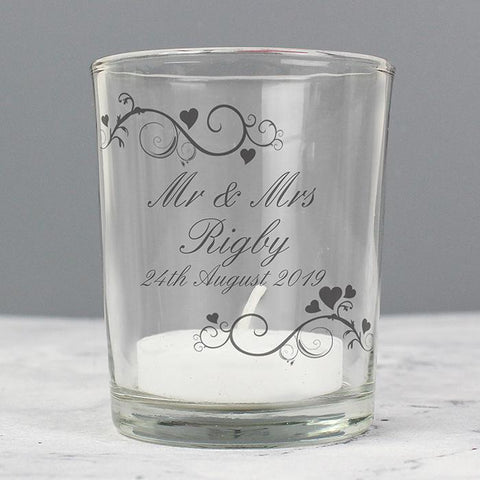 Personalised Ornate Swirl Votive Candle Holder-OurPersonalisedGifts.com