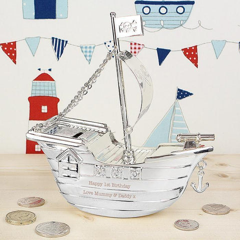 Personalised Pirate Ship Moneybox-OurPersonalisedGifts.com