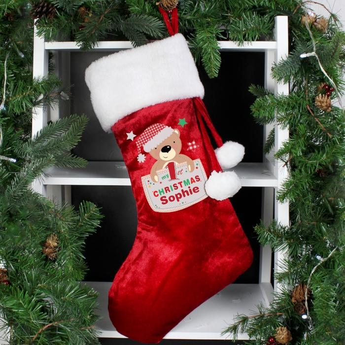 Personalised Pocket Teddy My 1st Christmas Luxury Stocking-OurPersonalisedGifts.com