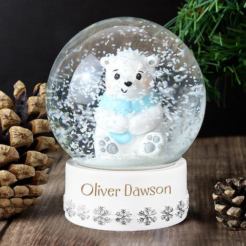 Personalised Polar Bear Any Name Snow Globe-OurPersonalisedGifts.com