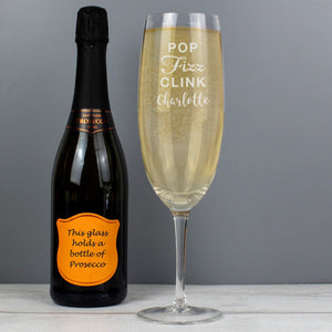 Personalised Pop Fizz Clink Bottle Of Prosecco Glass-OurPersonalisedGifts.com