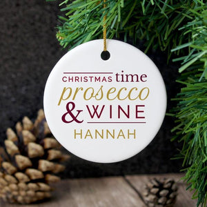 Personalised Prosecco & Wine Round Ceramic Decoration-OurPersonalisedGifts.com