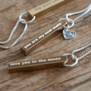 Personalised Raw Brass Necklace-OurPersonalisedGifts.com