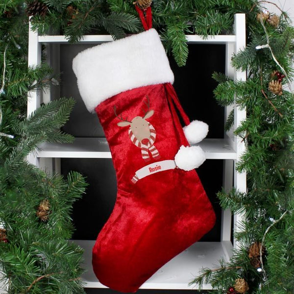 Personalised Retro Reindeer Luxury Stocking-OurPersonalisedGifts.com
