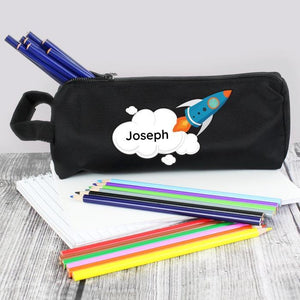 Personalised Rocket Pencil Case-OurPersonalisedGifts.com