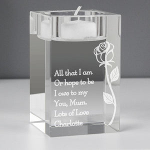 Personalised Rose Glass Tea Light Holder-OurPersonalisedGifts.com