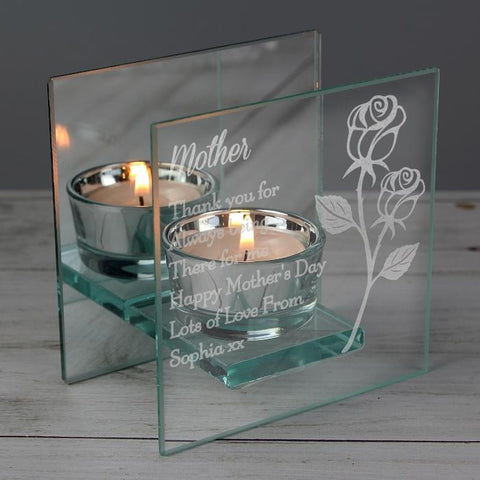 Personalised Rose Mirrored Glass Tea Light Holder-OurPersonalisedGifts.com