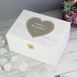 Personalised Rustic Heart White Wooden Keepsake Box-OurPersonalisedGifts.com