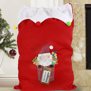 Personalised Santa Claus Luxury Pom Pom Sack-OurPersonalisedGifts.com