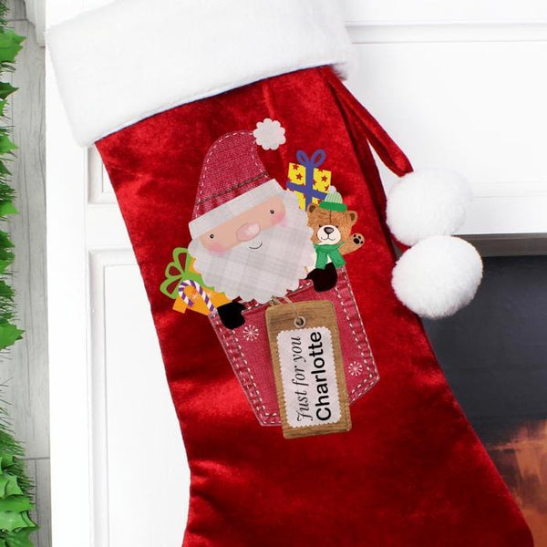 Personalised Santa Claus Luxury Stocking-OurPersonalisedGifts.com