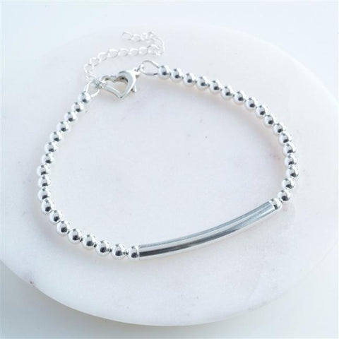 Personalised Silver Heart Clasp Bracelet-OurPersonalisedGifts.com