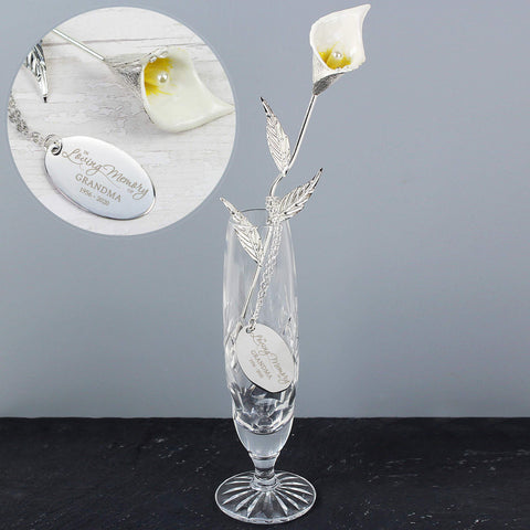 Personalised Silver Plated In Loving Memory Calla Lily Flower Ornament-OurPersonalisedGifts.com