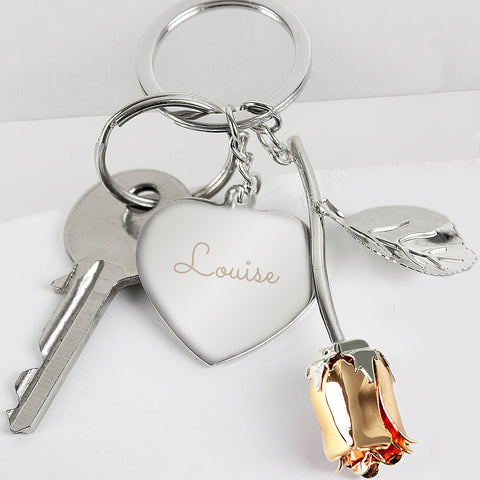 Personalised Silver Plated Name Rose Gold Rose Keyring-OurPersonalisedGifts.com