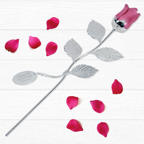 Personalised Silver Plated Pink Rose-OurPersonalisedGifts.com