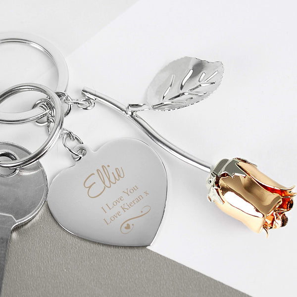 Personalised Silver Plated Swirls & Hearts Rose Gold Rose Keyring-OurPersonalisedGifts.com