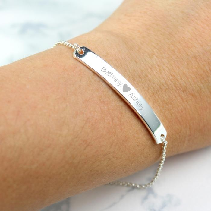 Personalised Silver Tone Heart ID Bracelet-OurPersonalisedGifts.com