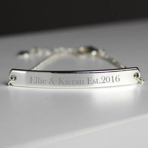 Personalised Silver Tone ID Bracelet-OurPersonalisedGifts.com