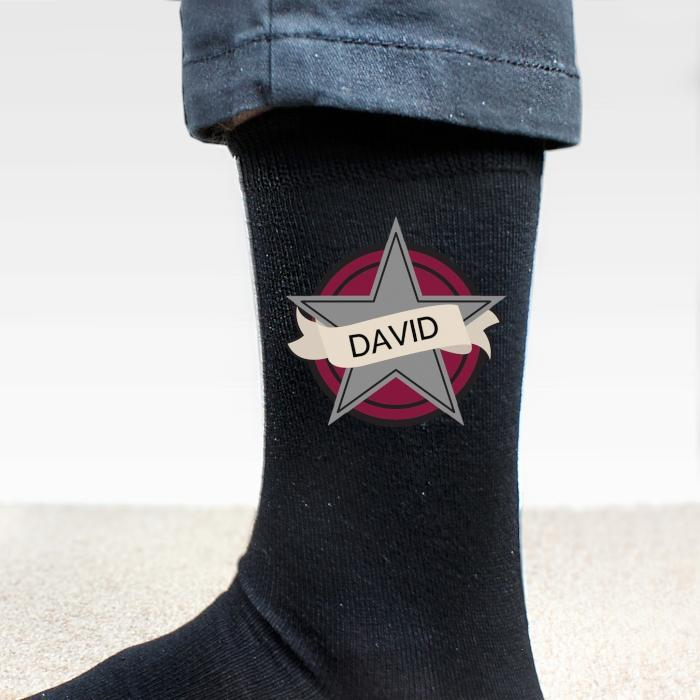 Personalised Star Men's Socks-OurPersonalisedGifts.com
