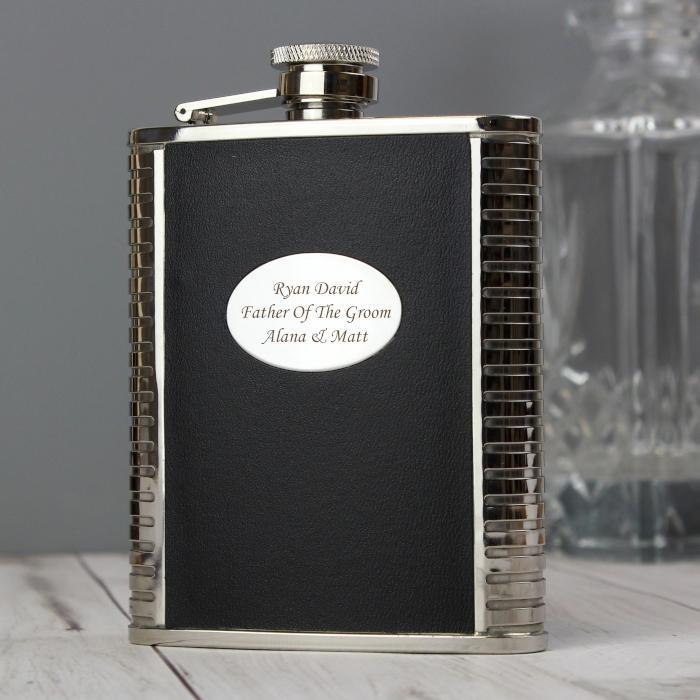 Personalised Steel and Black Leather Hip Flask-OurPersonalisedGifts.com