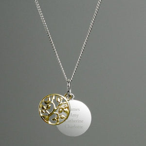 Personalised Sterling Silver & 9ct Gold Family Tree Necklace-OurPersonalisedGifts.com
