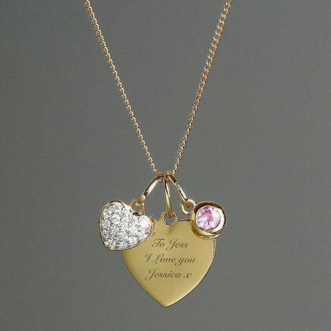 Personalised Sterling Silver & 9ct Gold Heart Necklace-OurPersonalisedGifts.com