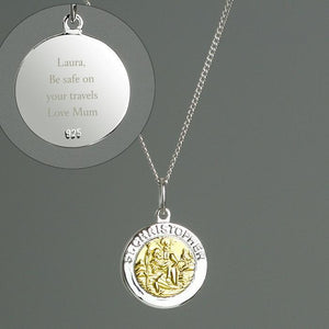 Personalised Sterling Silver & 9ct Gold St. Christopher Necklace-OurPersonalisedGifts.com